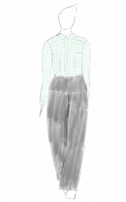 Croquis de style représentant une femme habillée d'un chemisier en tissu vichy deux tailles