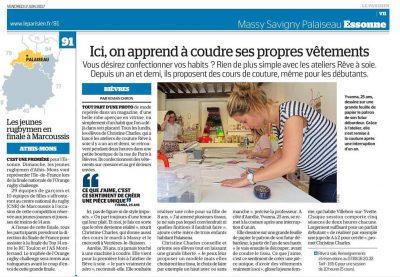 Image d'un article scanné publié dans le Parisien Essonne du 2 juin 2017 avec une photo prise durant un atelier et un article complet