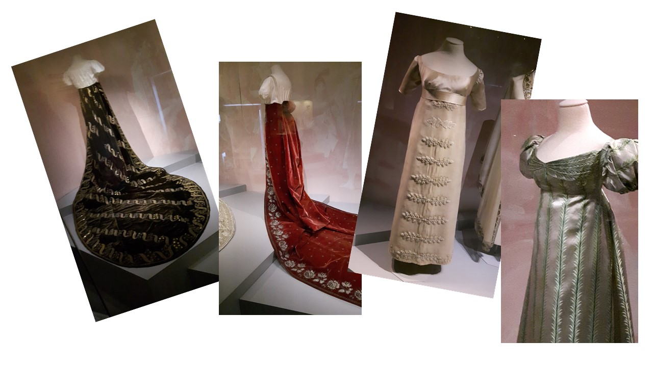 """Assemblage de 4 photos de modèles de robes empires de l'exposition """"les robes de Josephine"""" (Malmaison 2017)"""