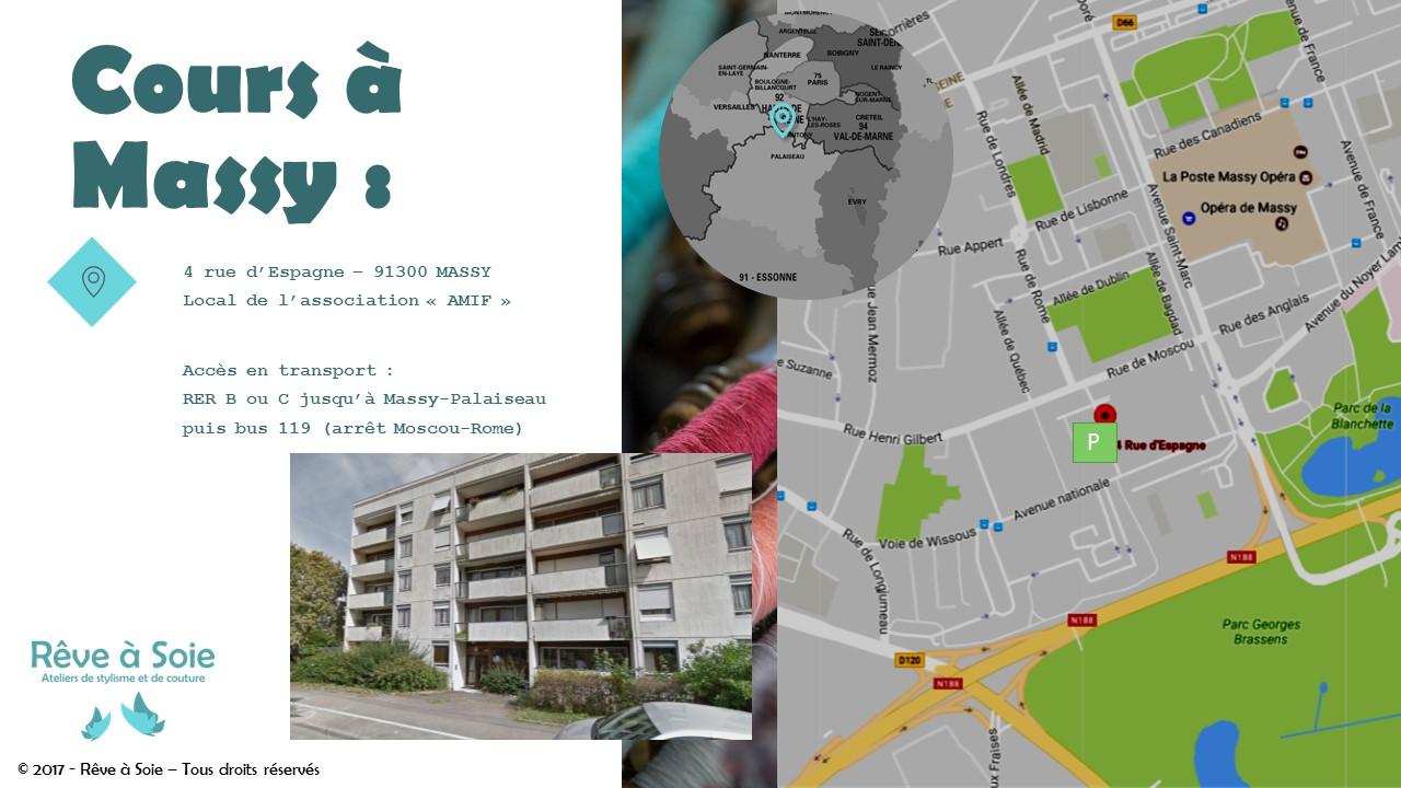 Plan d'accès à la salle de cours de Massy des ateliers Rêve à Soie avec indication des parkings et des transports