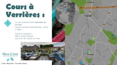 Plan d'accès à la salle de cours de Verrières-le-Buisson des ateliers Rêve à Soie avec indication des parkings et des transports