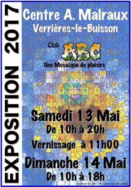 Affiche annonçant l'exposition du club ABC de Verrières-le-Buisson les 13 et 14 mai 2017
