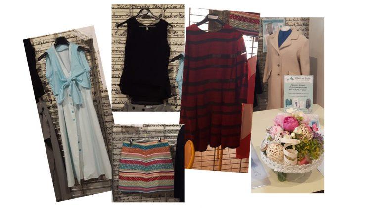 Photos de différents modèles (deux robes, un top, une jupe et un manteau devant un bouquet) - vus à l'exposition du club ABC de Verrières en mai 2017