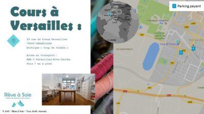 Plan d'accès salle à Versailles (avec son adresse et une photo de la salle) avec indications des parkings et transports possibles