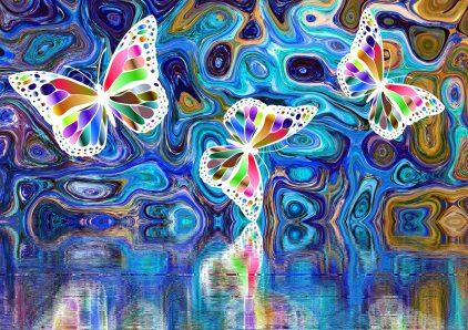 """photo d'accueil du groupe facebook privé """"entraide de rêve"""" représentant des papillons multicolores sur fond à dominante bleue"""