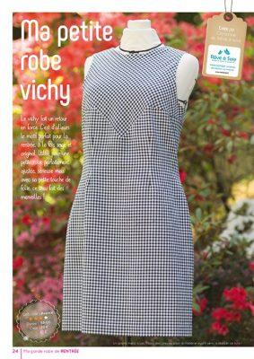 Photo d'une robe vichy à découpe géométrique - création originale de Rêve à Soie pour tuto couture exclusif paru dans idées à faire