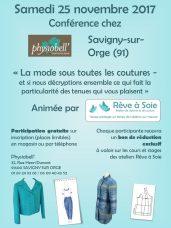 """Affiche événement Physiobell Conférence """"La mode sous toutes les coutures"""""""