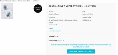 Vue Cours-inscription Liste Attente