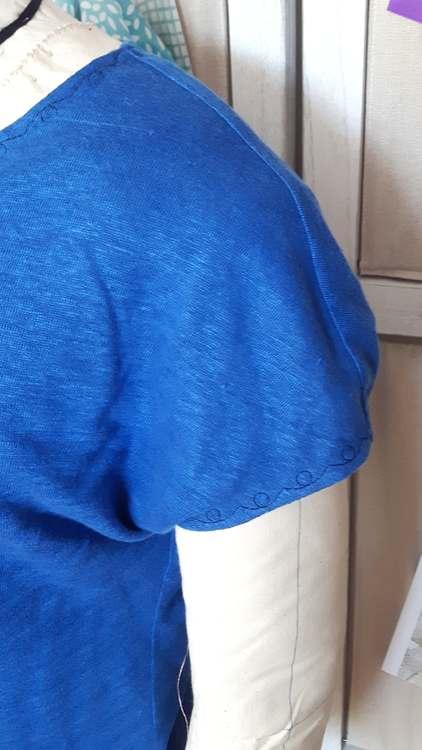 Tshirt kimono réversible (détail manche) - une réalisation-exemple des ateliers Rêve à Soie
