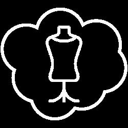 """Logo de la formule """"Rêve de pros """" : mannequin couture entouré d'un nuage stylisé"""