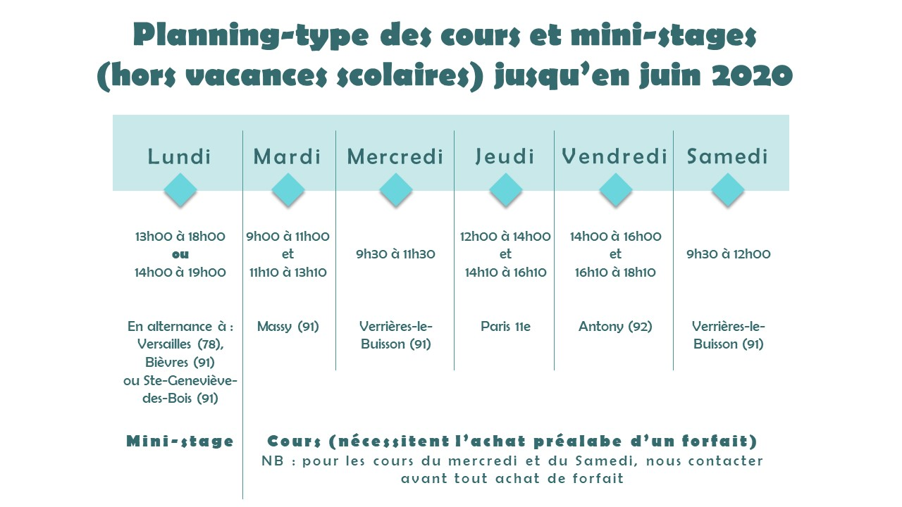Horaires cours 2019-2020