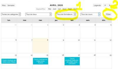 Filtrage du calendrier par formateur