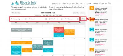 Aide en ligne filtre calendrier-planning